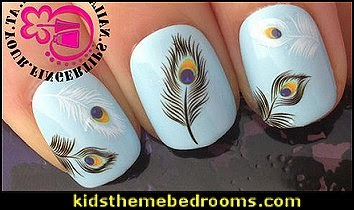 WATER TRANSFER DECALS PEACOCK EYE BLACK & WHITE FEATHERS