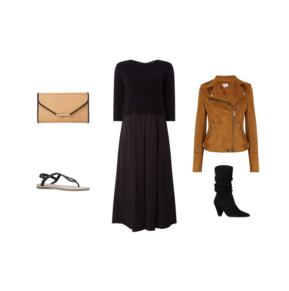 my midlife fashion, house of fraser, max mara weekend long sleeve two layer dress, warehouse quilted suedette biker, l k bennett sissi clutch, carvela acorn sandals, carvela scrunch ankle boots