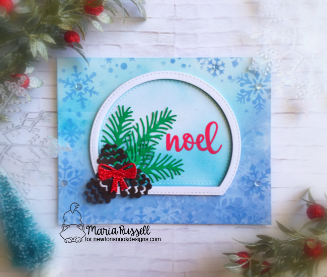 Stenciled Christmas Card by Maria Russell | Snowfall Stencil, Pines & Holly Die Set, and Sentiments of the Season Stamp Set by Newton's Nook Designs #newtonsnook