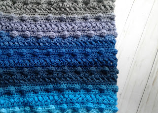 crochet blanket blue ombre
