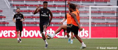 Último entrenamiento antes del partido contra el Arsenal.