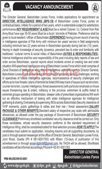 Latest Balochistan Levies Force Management Posts 2021 Ad1