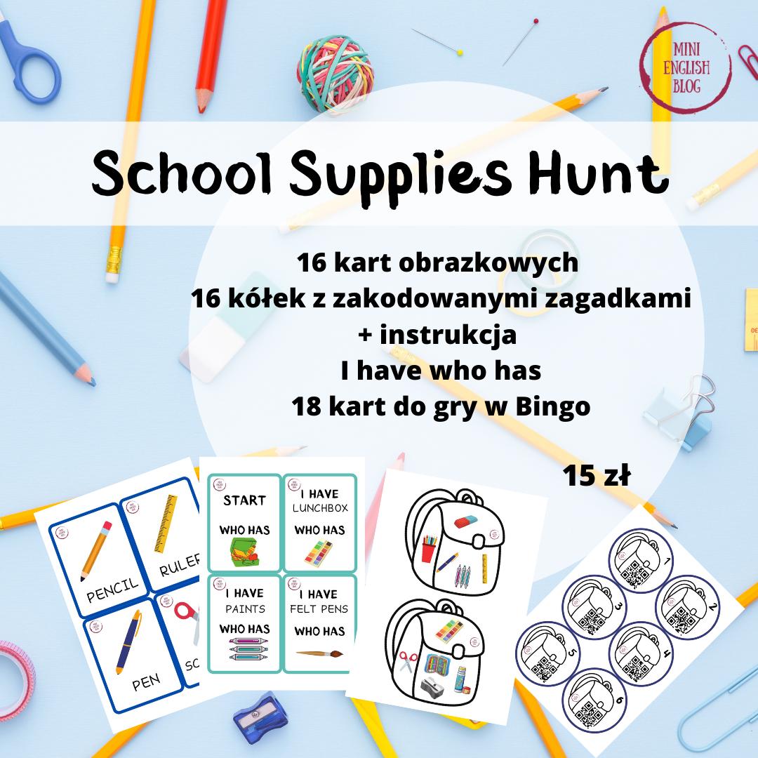 Przybory szkolne: Hunt z qr kodami, flashcards, Bingo, I have who has