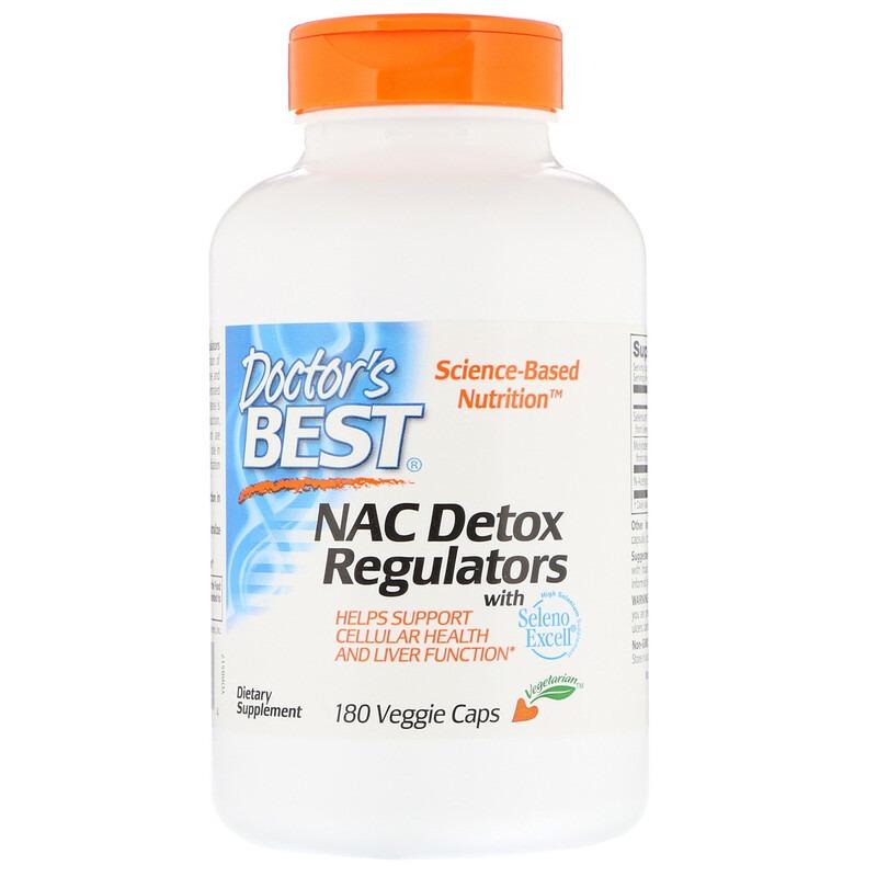 Doctor's Best, N-ацетилцистеин для регуляции процесса детоксикации, 180 растительных капсул