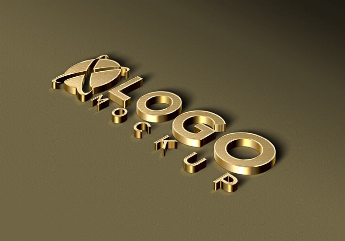 3D Luxury Golden Logo Mockup