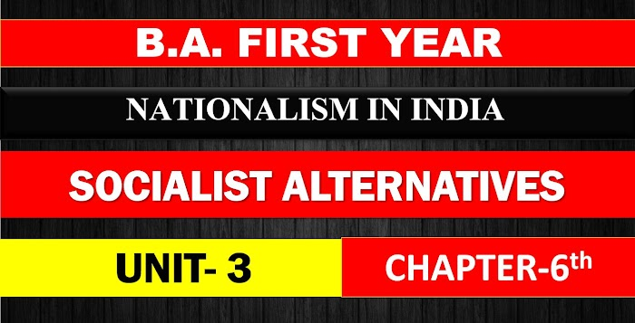 B.A. FIRST YEAR NATIONALISM IN INDIA UNIT 3 CHAPTER - 6 SOCIALIST ALTERNATIVES NOTES