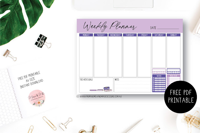 Free PDF A4 Weekly Planner Printable by Mum and Me Handmade Designs