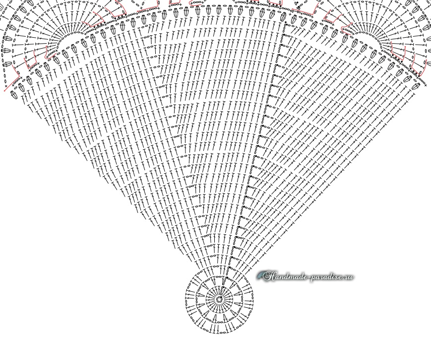 Схема вязания крючком большой салфетки для круглого столика (2)