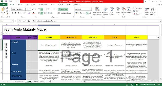 Agile Maturity Matrix Template Excel