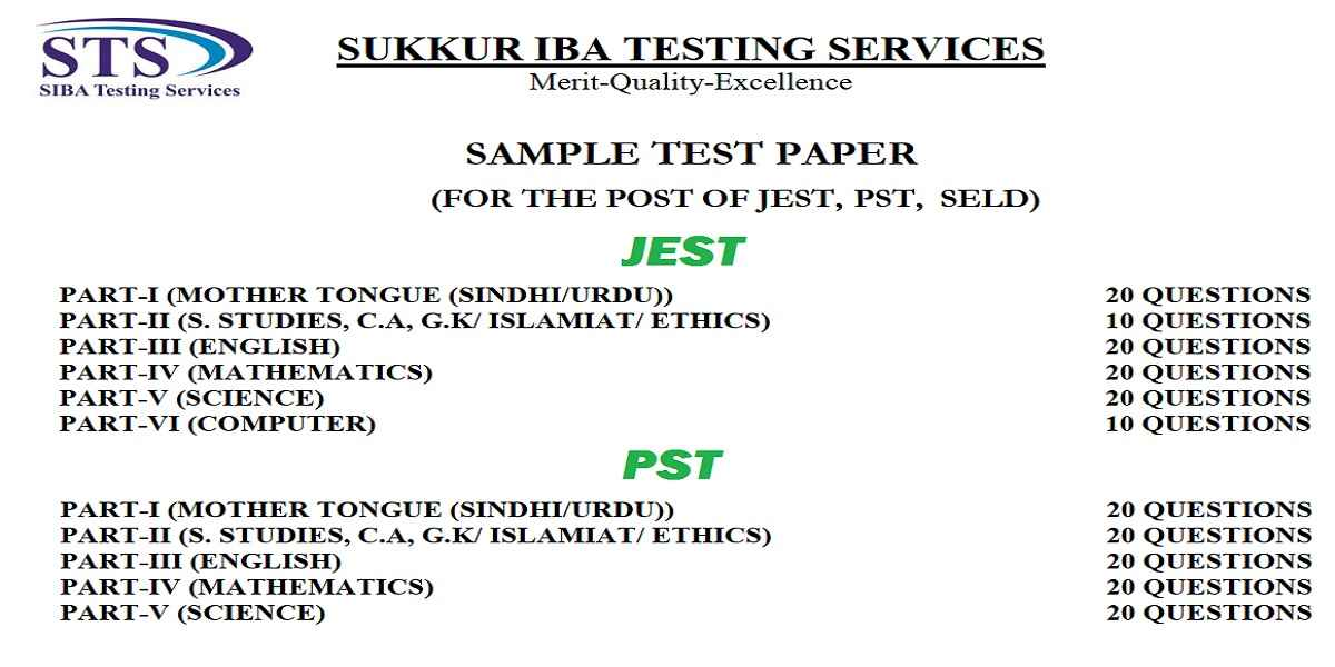 Sample Papers for the posts of JEST (BPS-14) & PST (BPS-14)