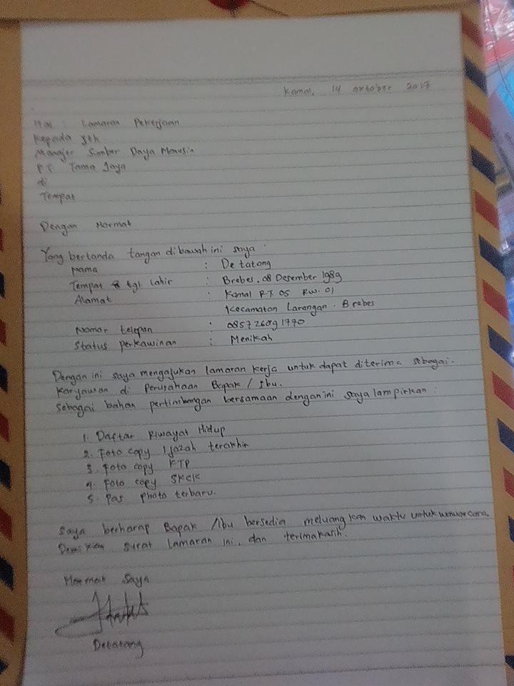 Contoh Surat Lamaran Kerja Dan Daftar Riwayat Hidup Tulisan