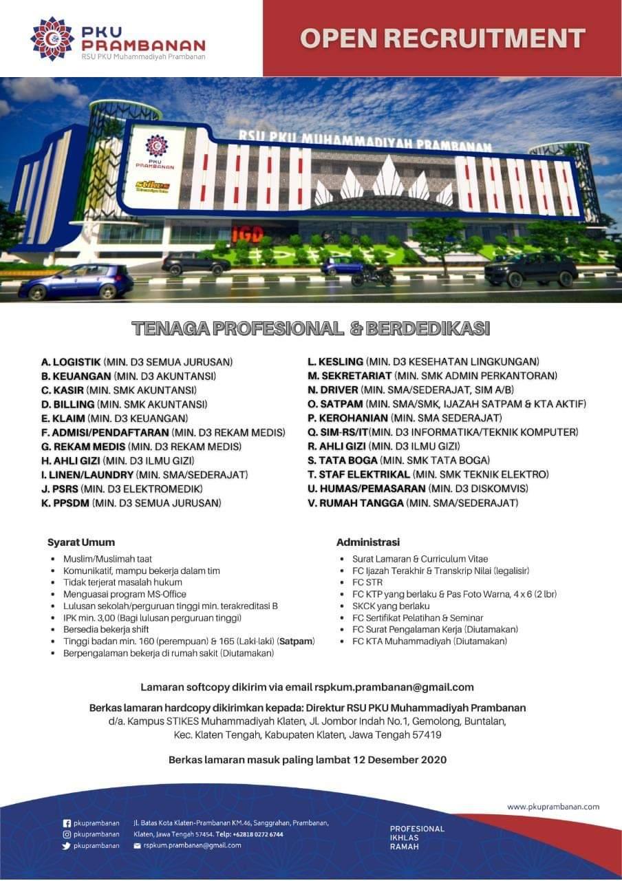 Lowongan Kerja RSU PKU Muhammadiyah Prambanan Membuka Banyak Posisi