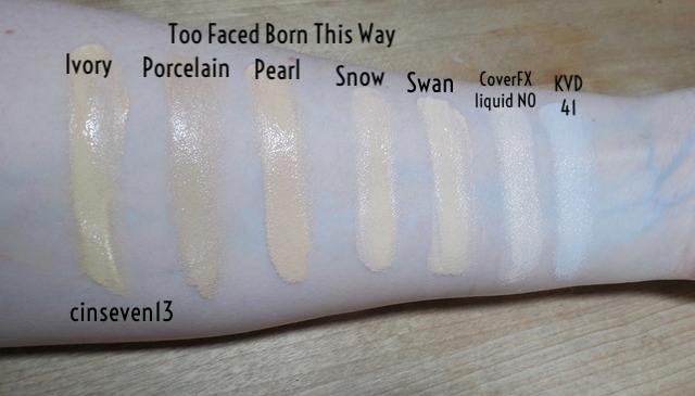 cinseven13 too faced born this way swan foundation swatch