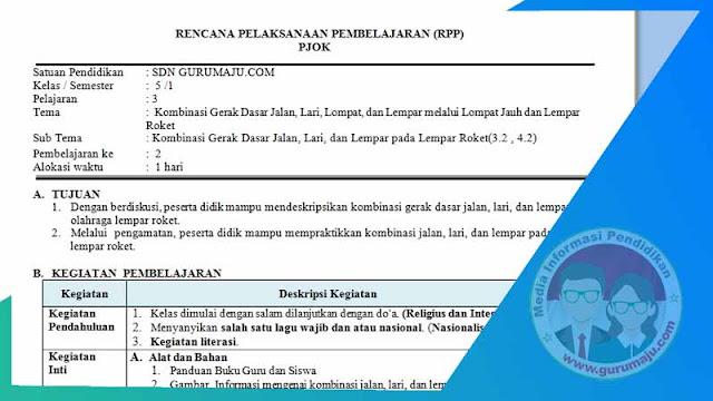 RPP PJOK 1 Lembar Semester 1 SD Kelas 5 Tema 3