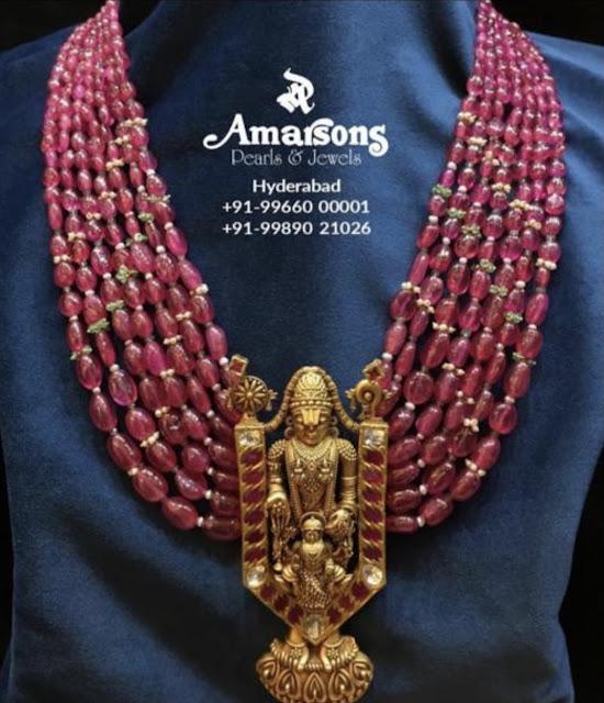 Ruby Beads with Balaji Pendant