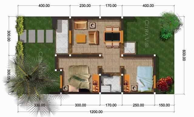 Denah Rumah Sederhana Minimalis Type 36