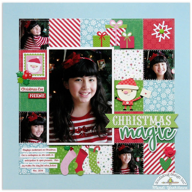 Doodlebug Design: Here Comes Santa Claus Christmas Eve Grid Style Scrapbook Layout by Mendi Yoshikawa