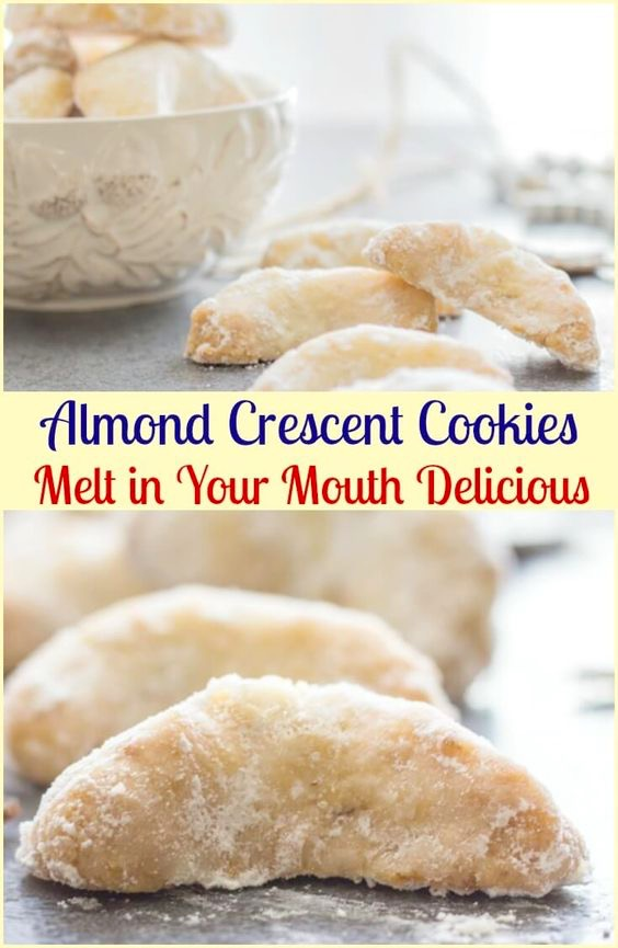Almond Christmas Crescent Cookies Recipe Tasty Apron