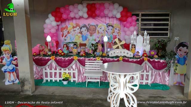 Decoração mesa super-luxo de tecido tema Princesas Disney Baby - Festa feminina