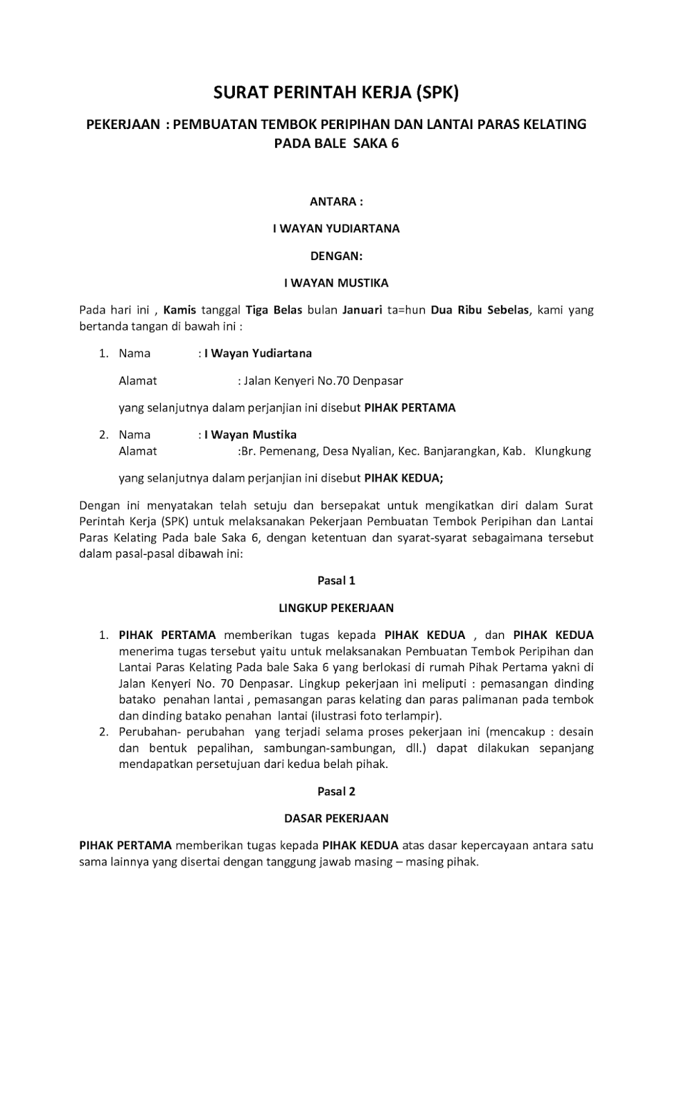 contoh surat perintah resmi