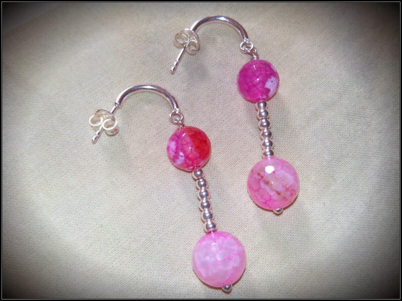 Pendientes plata semipreciosas ágatas rosas artesanales personalizados. Joyería