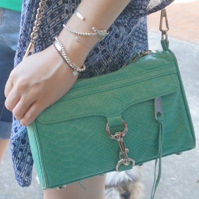 Rebecca Minkoff mini MAC in aquamarine with python embossed leather |AwayFromTheBlue