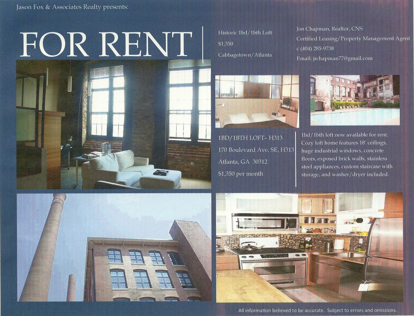 Atlanta Real Estate LEASED 1bd1bth Historic Loft at