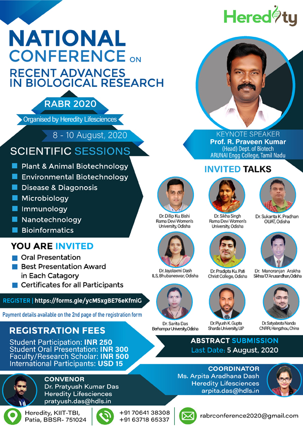 Heredity Lifesciences Virtual National Conference on Recent Advances in Biological Research (RABR – 2020) | 8th – 10th August 2020
