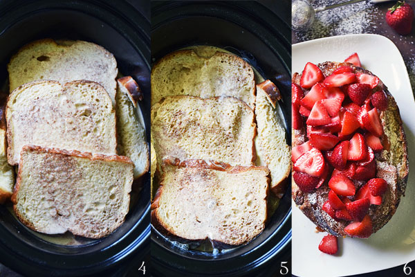 Step by step photos how to assemble stuffed french toast in slow cooker