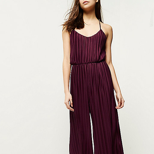 pleated cropped jumpsuit, pleated jumpsuit, river island purple jumpsuit,