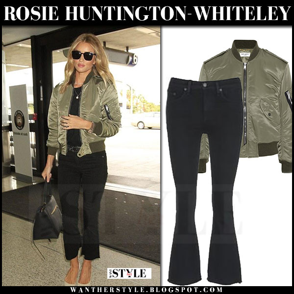 Rosie Huntington-Whiteley in green satin saint laurent bomber jacket and cropped flare jeans what she wore streetstyle