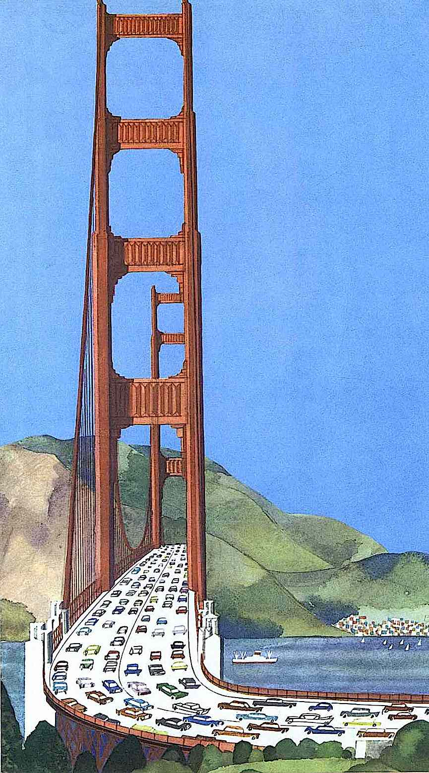 a color illustration of a bridge from a Miroslav Sasek children's book