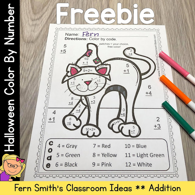 Grab this FREE Halloween Color By Number Addition Worksheet and Answer Key for Your Class Today!