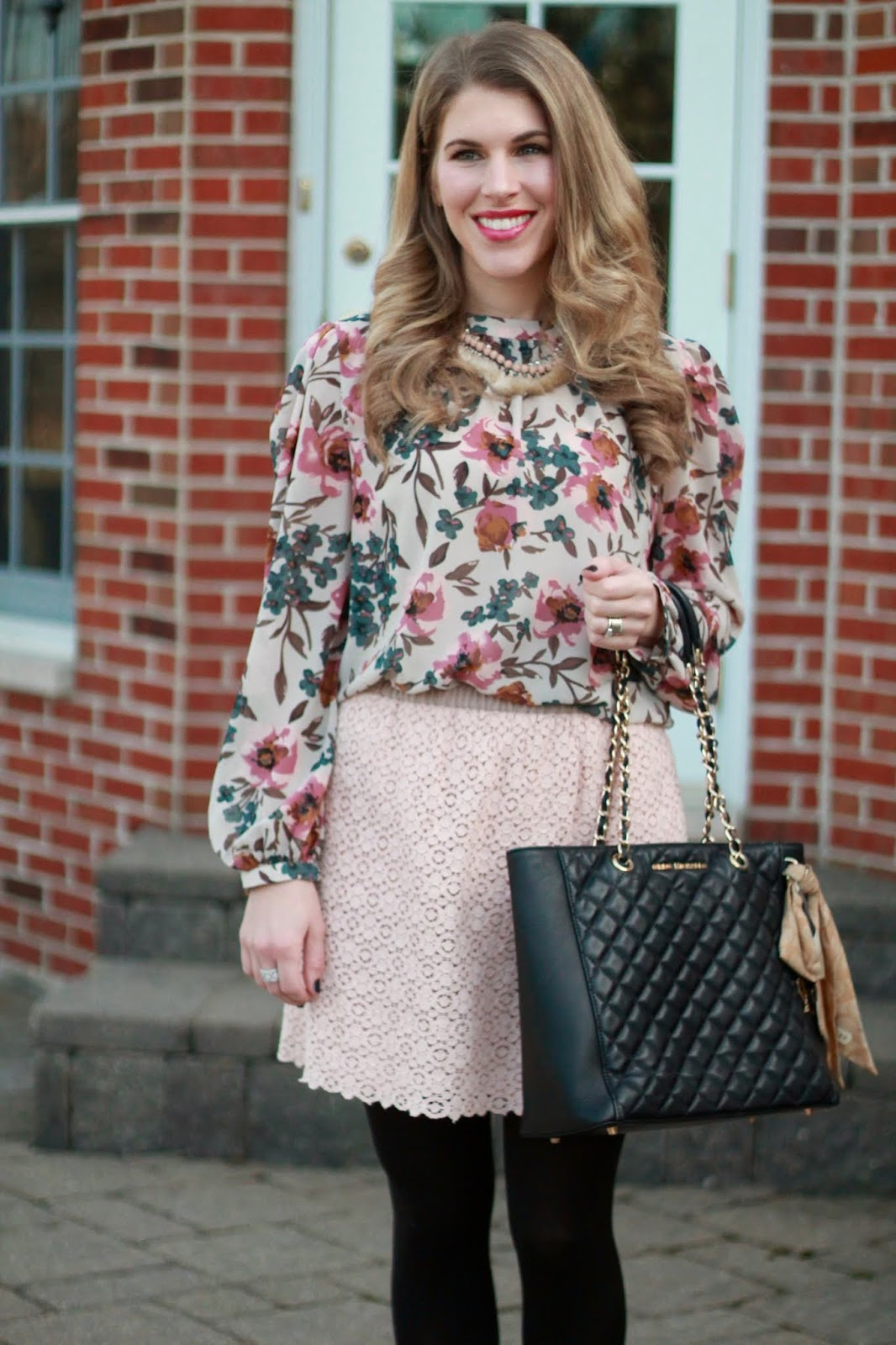 447f3b291b Blouse-c/o SheIn | Skirt (similar, similar) | Necklace (similar, similar) |  Bag (save, splurge) | Pumps (save, splurge) I shared this look on instagram  last ...
