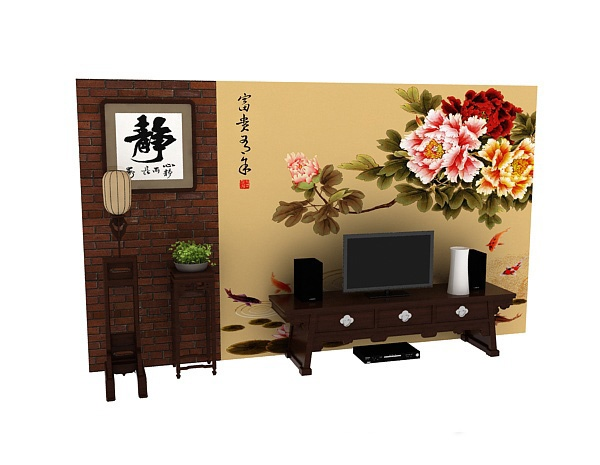 Chinese TV wall model free 3ds max