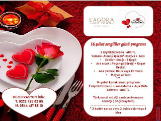 L'agoara Old Town Otel İzmir Sevgililer Günü Programı Menüsü 2020