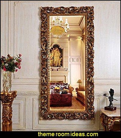 Antique Baroque Gold mirror Luxury bedroom designs - Marie Antoinette Style theme decorating ideas - French provincial furniture baroque style - Louis XVI furniture - Rococo furniture - baroque furniture - marie antoinette bedroom ideas - marie antoinette bedroom furniture
