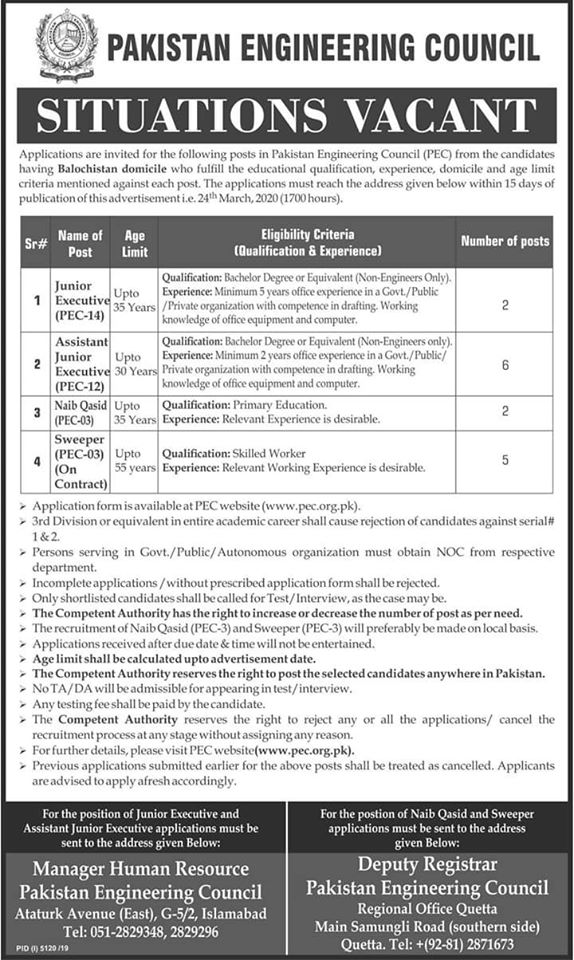 Situations Vacant Pakistan Engineering Council Islamabad, Quetta