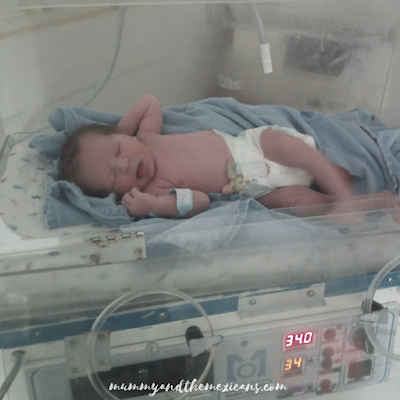 My Mexican Pregnancy - Birth Story - Image Shows Newborn Baby In An Incubator