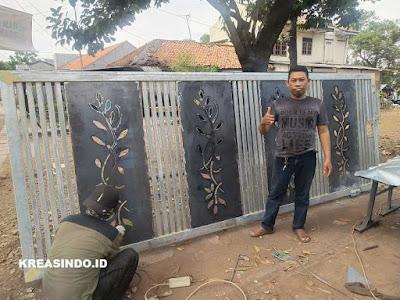 Pintu Pagar Plat Besi Cutting Laser pesanan Bpk Umar Fauzi di Cilegon Banten