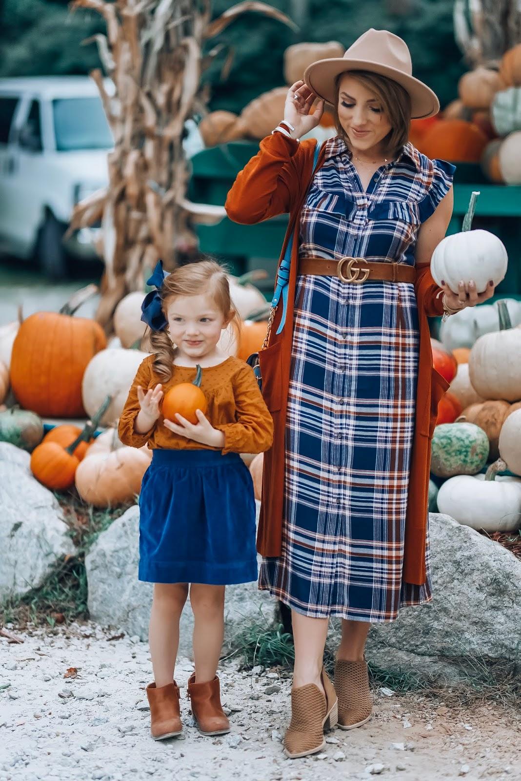 Roadside Pumpkin Stand in Highlands + Under $30 Plaid Flannel Midi Dress - Something Delightful Blog #targetstyle #fallstyle #affordablefashion