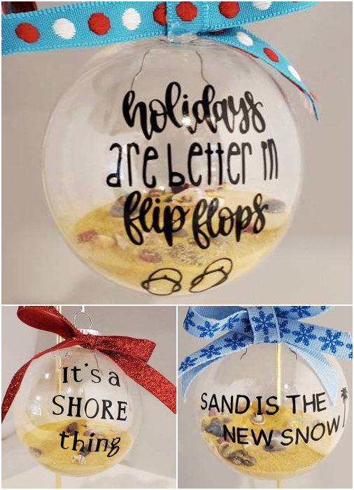 Beach Filled Quote Ornaments