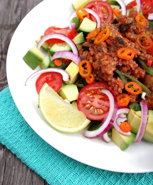Oppskrift Gryterett Aubergine Quinoa Linser Proteinrik Vegetarmat Veganmat Enkel Gryte
