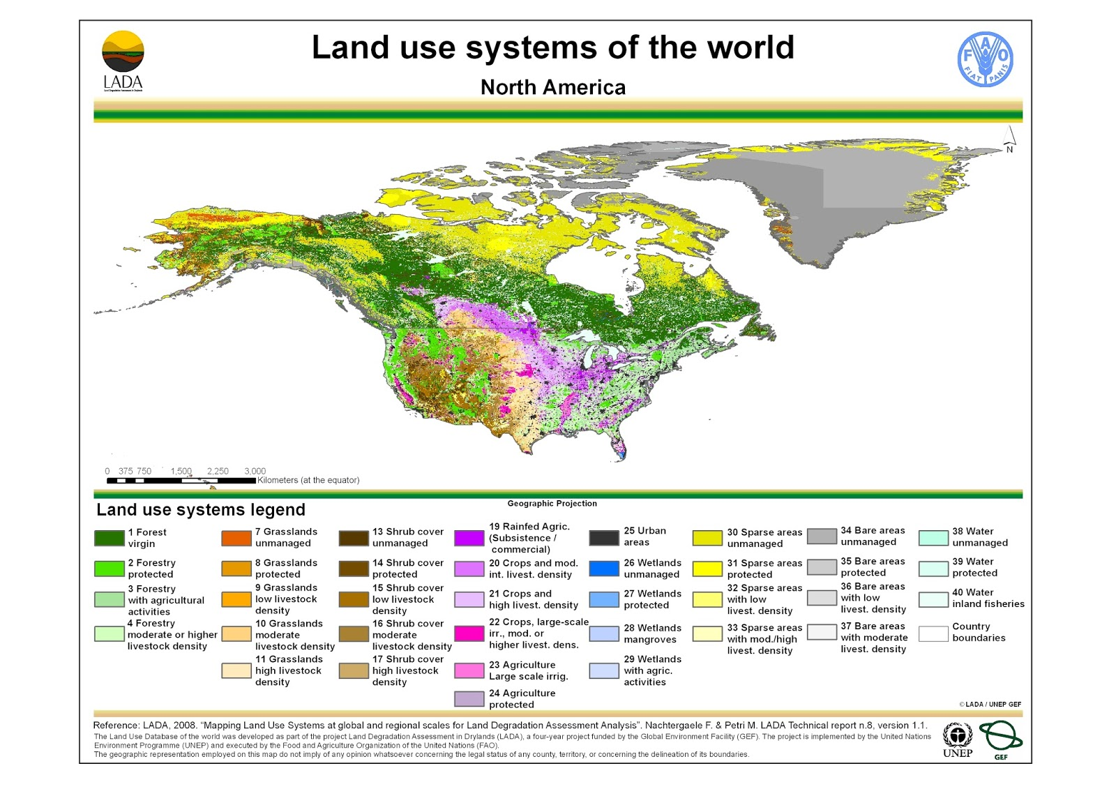 North America: Land use map