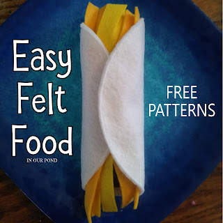 Easy Circular Felt Food with Patterns // In Our Pond // free printable // pretend play // kids play // play kitchen // crafting // diy // sewing