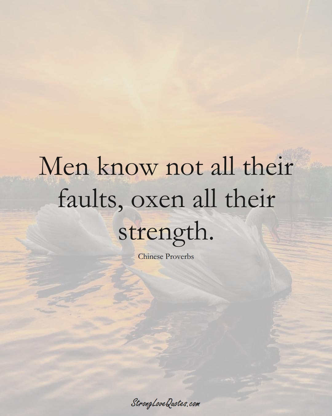 Men know not all their faults, oxen all their strength. (Chinese Sayings);  #AsianSayings