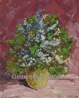 Mimosas, tableau à l'huile 5 x 4 par Clémence St-Laurent - petites fleurs bleues et blanches dans un vase rond