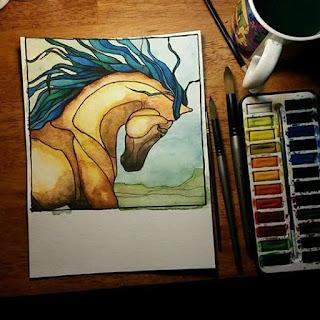 watercolor horse art wild mustang copyright cheryl casey 2018