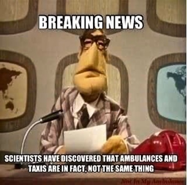 The Muppet Show Breaking News. Taxis and ambulances are not the same thing. Biped versus Quadruped. marchmatron.com