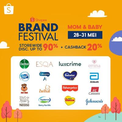 Shopee Promo Brand Festival Mom & Baby Diskon Up to 90% + Cashback 20% (28 - 31 Mei 2021)